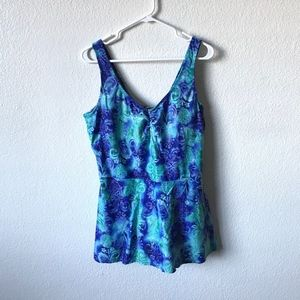 ISLANDER BLUE FLORAL SWIMSUT WITH SKIRT PUS SIZE
